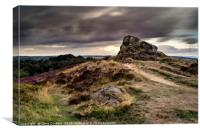 Ashover Stone and moving clouds, the Peak District, Canvas Print