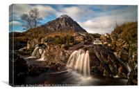Buachaille Etive Mor with River Etive waterfalls i, Canvas Print