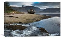 The wreck of the Golden Harvest, Corpach, Loch Lin, Canvas Print