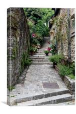Steps in the medieval town of Dinan, Canvas Print