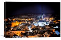 Night view at Cesky Krumlov. Czech Republic., Canvas Print
