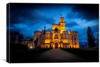 Night over Castle Hluboka nad Vltavou in Czech rep, Canvas Print