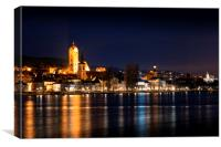 Night over Stein an der Donau. Krems an der Donau., Canvas Print