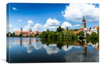 View of Telc across pond with reflections, Unesco , Canvas Print