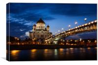Illuminated Cathedral of Christ the Savior framed , Canvas Print