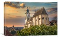 Old church in village of Emmersdorf at the beginni, Canvas Print