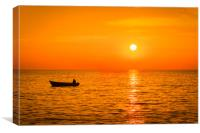 Sea sunset with a fishermans boat silhouette., Canvas Print
