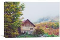 Mountains in autumn. Abandoned warehouse., Canvas Print