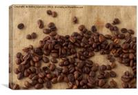 scattered coffee bean, Canvas Print