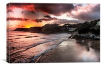 Caswell Bay, Swansea at Sunset, Canvas Print