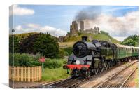 Steam Engine No 80801 as it passes Corfe Castle in, Canvas Print