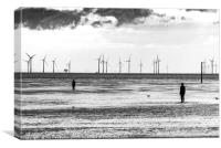 Antony Gormley - Another Place Sculpture - B&W, Canvas Print