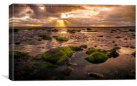 Sunset at Troon beach, Canvas Print