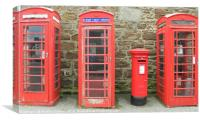 Iconic red telephone boxes with an iconic red post, Canvas Print
