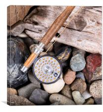 Vintage fly fishing outfit on rocks and wood backg, Canvas Print