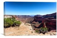 Grand Canyon with ground trail in lower valley , Canvas Print