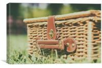 Picnic Basket Hamper With Leather Handle In Green , Canvas Print