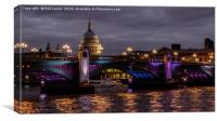 St Paul's Cathedral and Southwark bridge., Canvas Print