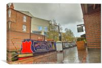 Canal Boat at the Waters Edge  Brindley Place, Canvas Print