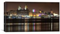 LIVERPOOL WATERFRONT AT NIGHT, Canvas Print