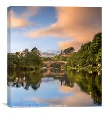 Reflections on The Tees at Barnard Castle., Canvas Print