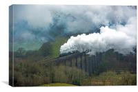 Steam Engines crossing Cynghordy Viaduct , Canvas Print