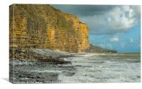 Llantwit Major Beach on a stormy and sunny day, Canvas Print