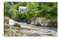 Cenarth Falls and Coracle Museum River Teifi, Canvas Print