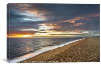 Sunset at Chesil Beach in Dorset, Canvas Print