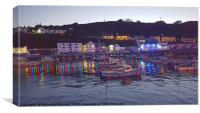 Porthleven Cornwall harbour illuminations at dusk , Canvas Print