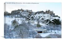 Edinburgh Castle and Ross Bandstand in snow, Canvas Print