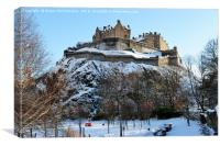 Edinburgh Castle in snow from Princes Street, Canvas Print
