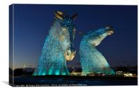 The Kelpies by night, Canvas Print