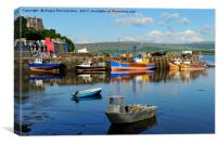 Colourful boats in Tobermory harbour , Canvas Print