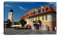 Colourful renovated merchants houses in Sibiu, Canvas Print