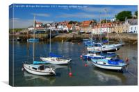 Yachts at anchor in St Monans harbour, Canvas Print