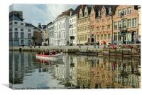 On the River Leie in Ghent, Belgium, Canvas Print