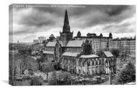 Glasgow Cathedral from the Necropolis mono, Canvas Print