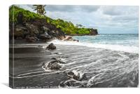 The exotic and famous Black Sand Beach of Waiʻanap, Canvas Print