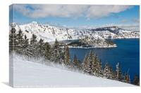 Beautiful view of Crater Lake covered in snow in t, Canvas Print