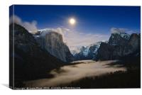 Dramatic moonrise over Yosemite National Park., Canvas Print