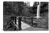 Lower South Falls with footbridge., Canvas Print