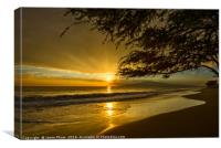 Spectacular beach sunset in the town of Lahaina on, Canvas Print