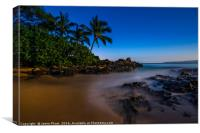 The Moon glowing over Secret Beach in Maui., Canvas Print