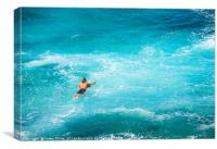 Surfers at the famous Hookipa Beach in the North s, Canvas Print