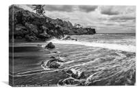 The exotic and famous Black Sand Beach, Canvas Print