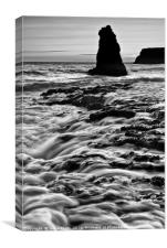Dramatic view of a sea stack in Davenport Beach, S, Canvas Print