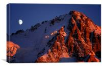 Moonrise and sunset on the Aiguille de Chardonnet, Canvas Print