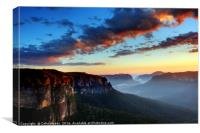 Dawn on the Blue Mountains in Australia, Canvas Print