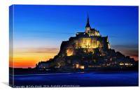 Sunset Glow on Mont St Michel , Canvas Print